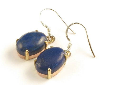 Design 116157 Wholesale Oval Lapis Lazulli .925 Sterling Silver Jewelry Earrings 1 3/8""