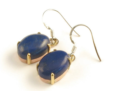 Design 116158 Handcrafted Oval Lapis Lazulli .925 Sterling Silver Jewelry Earrings 1 3/8""