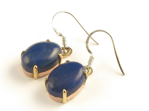 Design 116161 Original Oval Lapis Lazulli .925 Sterling Silver Jewelry Earrings 1 3/8""
