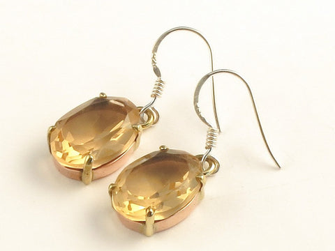 Design 116165 Made By Hand Oval Champagne Quartz .925 Sterling Silver Jewelry Earrings 1 3/8""