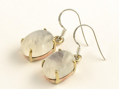 Design 116172 Special Oval Rainbow Moonstone .925 Sterling Silver Jewelry Earrings 1 3/8""