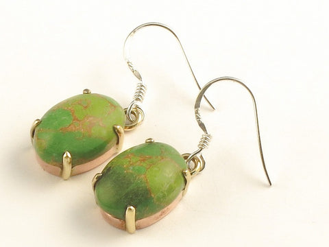 Design 116191 Premium Oval Green Copper Turquoise .925 Sterling Silver Jewelry Earrings 1 3/8""