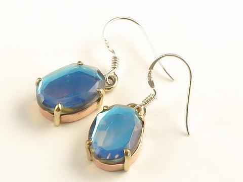 Design 116208 Artistic Oval Blue Rainbow Mysterious .925 Sterling Silver Jewelry Earrings 1 3/8""