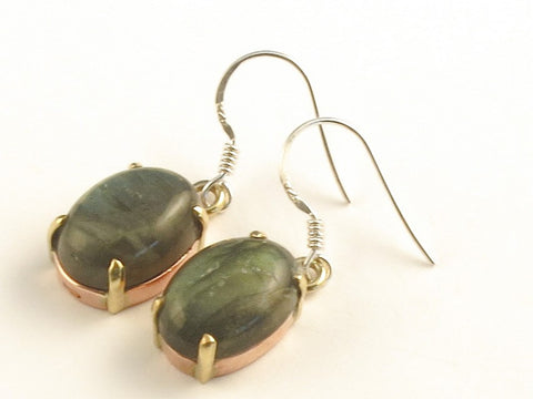 Design 116229 Artistic Oval Labradorite .925 Sterling Silver Jewelry Earrings 1 3/8""
