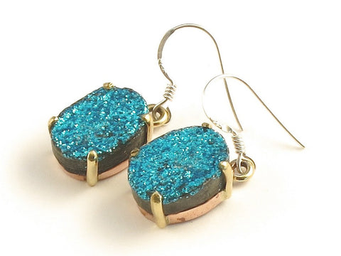 Design 116237 Jewelry Closeout Oval Blue Drusy .925 Sterling Silver Jewelry Earrings 1 3/8""