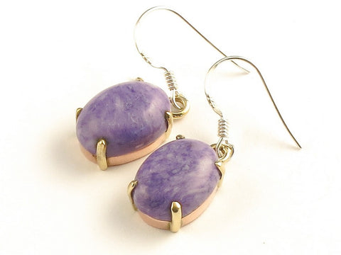 Design 116253 Fair Trade Oval Charolite .925 Sterling Silver Jewelry Earrings 1 3/8""