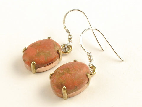 Design 116267 Unique Oval Orange Copper Turquoise .925 Sterling Silver Jewelry Earrings 1 3/8""
