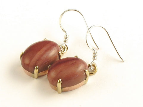 Design 116272 Fancy Oval Mookaite .925 Sterling Silver Jewelry Earrings 1 3/8""
