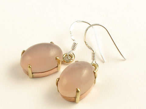 Design 116278 Jewelry Store Oval Rose Quartz .925 Sterling Silver Jewelry Earrings 1 3/8""