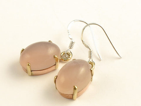 Design 116279 Jewelry Closeout Oval Rose Quartz .925 Sterling Silver Jewelry Earrings 1 3/8""