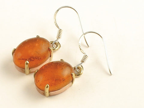 Design 116313 Artistic Oval Amber .925 Sterling Silver Jewelry Earrings 1 3/8""