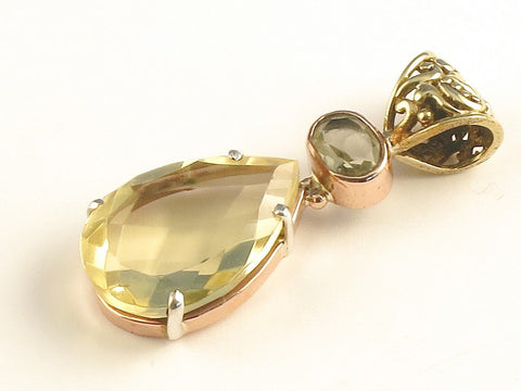 Design 116356 Fancy Oval, Teardrop Lemon Topaz .925 Sterling Silver Jewelry Pendant 1 3/4""