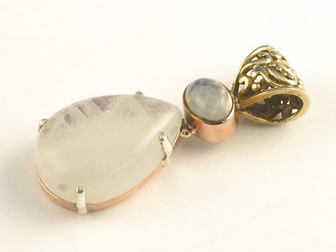 Design 116503 Fancy Oval, Teardrop Rainbow Moonstone .925 Sterling Silver Jewelry Pendant 1 3/4""