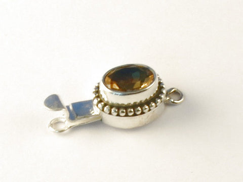 Fair Trade Oval Citrine .925 Sterling Silver Jewelry Clasp