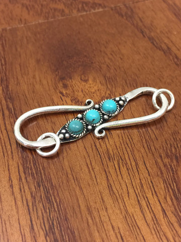 Turquoise Gemstone Sterling Silver (925 Hallmark Stamped) S Clasp Finding Connector for Jewelry Making Bracelets Handmade - Quick Shipping
