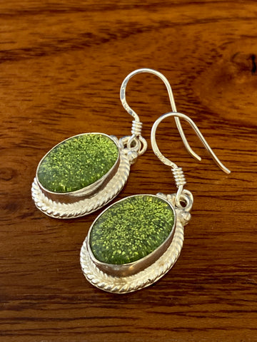 Earrings, Irish Druzy Cabochon Ovals 6 Grams Ear Wire Sterling Silver (.925) Gemstone Pair of Earrings Dainty Jewelry, Gifts For Her
