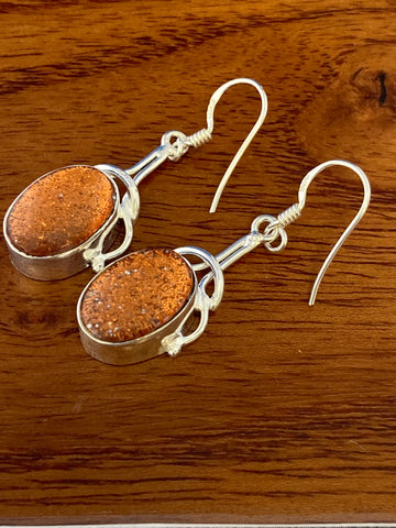 Earrings, Orange Druzy Cabochon Ovals 6 Grams Ear Wire Sterling Silver (.925) Gemstone Pair of Earrings Dainty Jewelry, Gifts For Her
