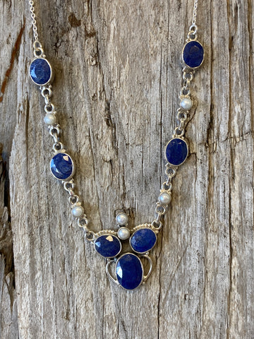 "Necklace Sterling Silver Findings Faceted Lapis Lazulli Gemstone Necklace Pendant, Weight 28 Grams Hanging Length 9 1/2"" Necklaces for Women"