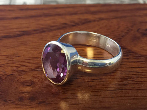 Alexandrite Quartz Faceted Gemstone Ring Size 8.5 Sterling Silver (.925) 7 Grams Rings Band With Stone Gifts for Women Boho Hippie Jewelry