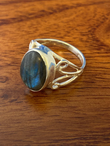 Ring, Sodalite Cabochon Dainty Gemstone Ring Size 6, Sterling Silver (.925) 3 Grams, Rings Band With Stone Gifts for Women