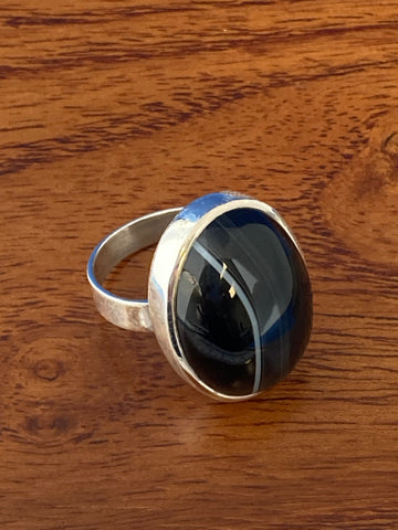 Ring, White Striped Black Agate Cabochon Oval Boho Hippie Gemstone Ring Size 7, Sterling Silver (.925) 10 Grams, Rings Band With Stone Gifts