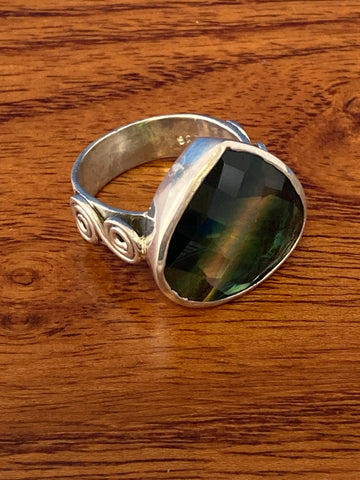 Ring, Fluorite Faceted Triangle Boho Hippie Gemstone Ring Size 7, Sterling Silver (.925) 10 Grams, Rings Band With Stone Gifts for Women