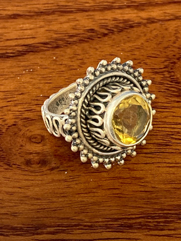 Ring, Citrine Faceted Round Boho Hippie Gemstone Ring Size 4.5, Sterling Silver (.925) 10 Grams, Rings Band With Stone Gifts for Women