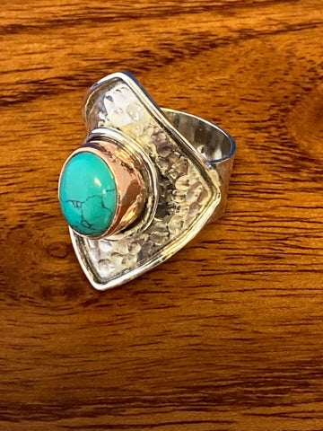 Ring, Turquoise Cabochon Oval Boho Hippie Gemstone Ring Size 7.5, Sterling Silver (.925) Copper 9 Grams, Rings Band With Stone Gifts