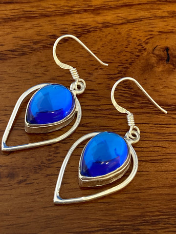 Earrings, Blue Mystic Cabochon Tear Drops 6 Grams Ear Wire Sterling Silver (.925) Gemstone Pair of Earrings Dainty Jewelry, Gifts For Her