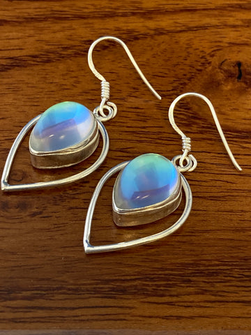 Earrings, Opalite Cabochon Tear Drops 5 Grams Ear Wire Sterling Silver (.925) Gemstone Pair of Earrings Dainty Jewelry, Gifts For Her