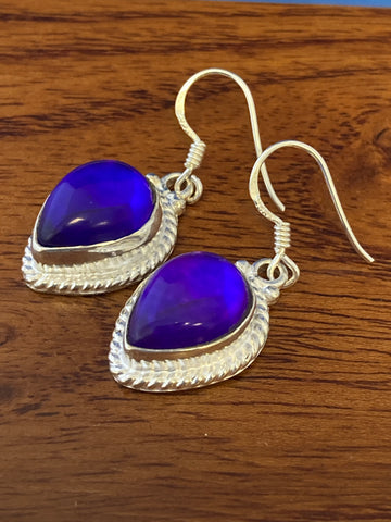 Earrings, Purle Mystic Cabochon Tear Drops 7 Grams Ear Wire Sterling Silver (.925) Gemstone Pair of Earrings Dainty Jewelry, Gifts For Her