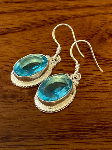 Earrings, Aquamarine Faceted Ovals 6 Grams Ear Wire Sterling Silver (.925) Gemstone Pair of Earrings Dainty Jewelry, Gifts For Her