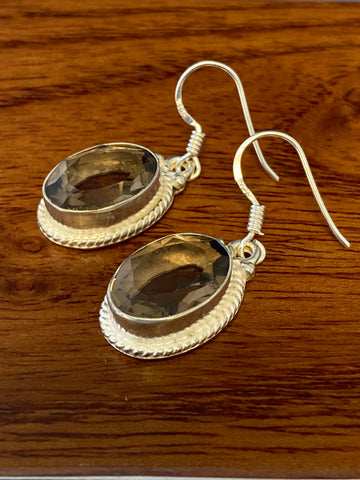 Earrings, Smoky Topaz Faceted Ovals 6 Grams Ear Wire Sterling Silver (.925) Gemstone Pair of Earrings Dainty Jewelry, Gifts For Her