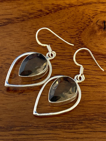 Earrings, Smoky Topaz Faceted Tear Drops 5 Grams Ear Wire Sterling Silver (.925) Gemstone Pair of Earrings Dainty Jewelry, Gifts For Her