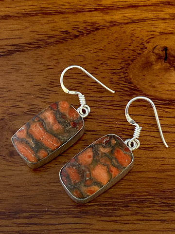 Earrings, Orange Copper Turquoise Cabochon Rectangles 6 Grams Ear Wire Sterling Silver (.925) Gemstone Pair of Earrings Dainty Jewelry, Gift
