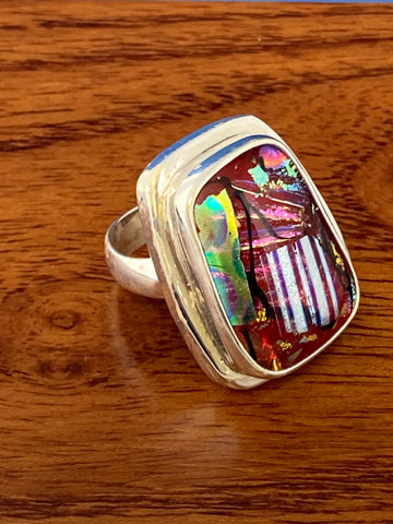 Ring, Dichroic  Glass Cabochon Unique Boho Hippie Gemstone Ring Size 7, Sterling Silver (.925) 12 Grams, Rings Band With Stone Gifts