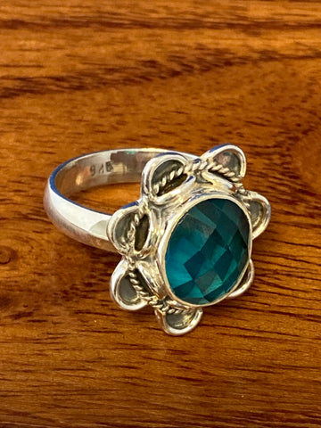 Ring, Blue Topaz Faceted Oval Boho Hippie Gemstone Ring Size 10, Sterling Silver (.925) 7 Grams, Rings Band With Stone Gifts for Women