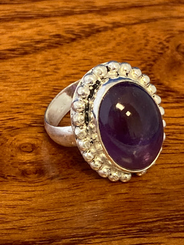 Ring, Purple Amethyst Cabochon Oval Boho Hippie Gemstone Ring Size 7, Sterling Silver (.925) 9 Grams, Rings Band With Stone Gifts for Women