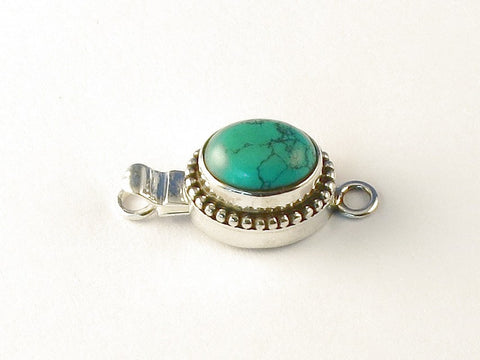 Oval Green Copper Turquoise .925 Sterling Silver Jewelry Clasp