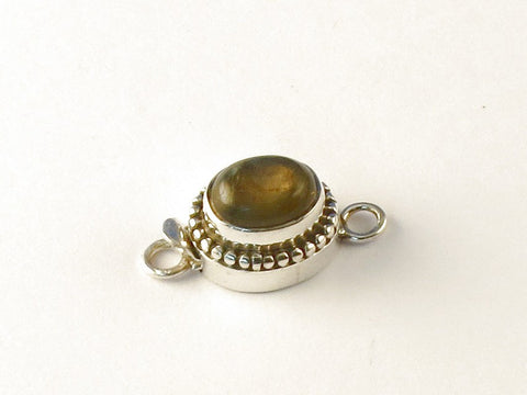 Oval Labradorite .925 Sterling Silver Jewelry Clasp