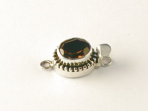 Oval Smoky Topaz .925 Sterling Silver Jewelry Clasp