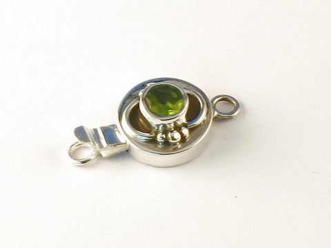 Premier Designs Round Peridot .925 Sterling Silver Jewelry Clasp