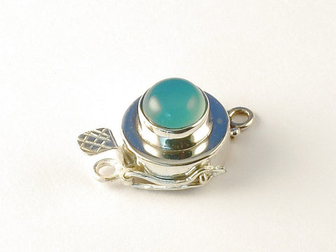 Round Blue Chalcedony .925 Sterling Silver Jewelry Clasp