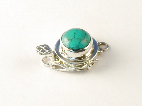 Round Green Copper Turquoise .925 Sterling Silver Jewelry Clasp