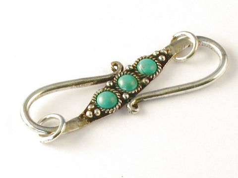 Round Green Turquoise .925 Sterling Silver Jewelry S Clasp 44M Length