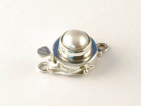 Round Mother Of Pearl .925 Sterling Silver Clasp