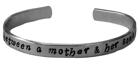 "The Love Between a Mother and Her Sons Is Forever - Hand Stamped 1/4"" Bracelet - Mother Son Bracelet - Mother's Day Gift"