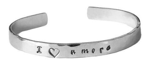Valentine's Day Sterling Silver Cuff Bracelet - I love u more
