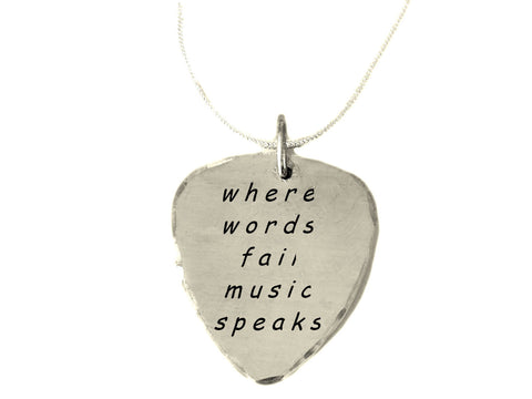 Where Words Fail Music Speaks|Pick Necklace with Box Chain|Textured and Brushed Finish|BFF Girlfriend Gifts