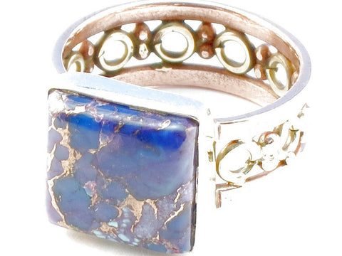 Design 104883 Purple Copper Turquoise Gemstone .925 Sterling Silver Ring Size 5